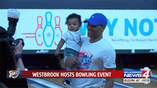 RUSSELL WESTBROOK TAKES A BREAK FROM BASKETBALL TO HOST ANNUAL BOWLING EVENT