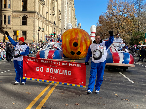 Go Bowling Display Rolls Down the Streets of NYC in the 93rd Macy's Thanksgiving Day Parade